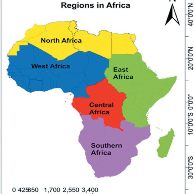 Map Of Africa Showing Its Five Main Regions Q640