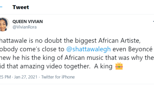 No African Artiste Comes Closer To Shatta Wale He Is The Greatest In Africa Nigerian Twitter Girl Queen Vivian 500x280